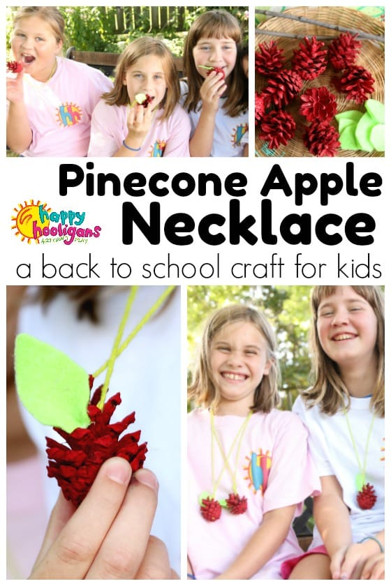 Pinecone apple necklace craft collage