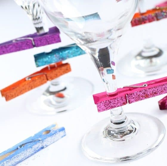 homemade wine charms made with clothespins