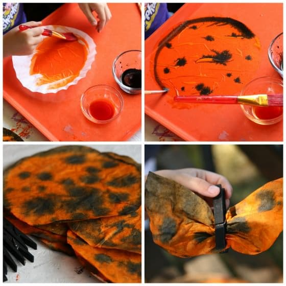 how to make coffee filter butterflies for Monarch butterfly mobile