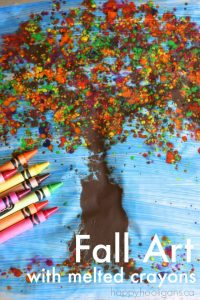 Fall Art with Melted Crayons - Happy Hooligans