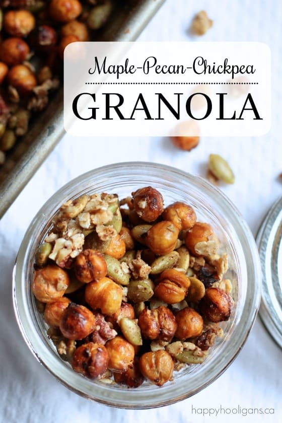 Homemade Granola with Chickpeas, Pecans and Maple - Happy Hooligans