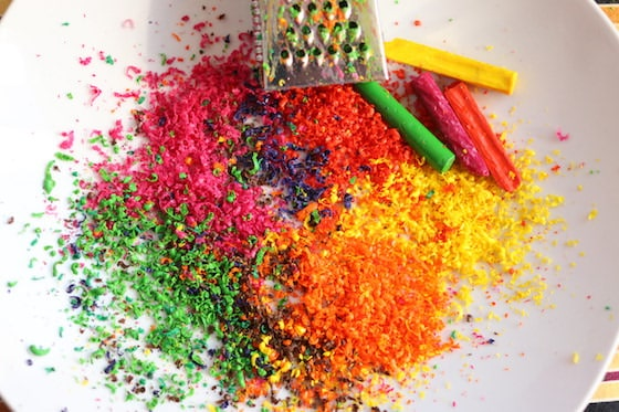 Grated Crayons for making fall tree art