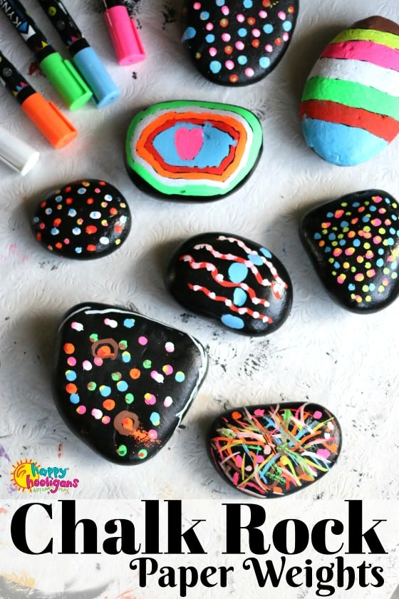 """Chalk Rocks"" Paperweights for Kids to Make with Liquid Chalk Markers"