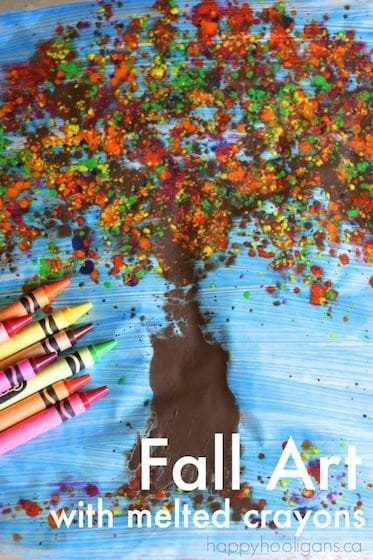 Amazing Fall Art with Melted Crayon Shavings