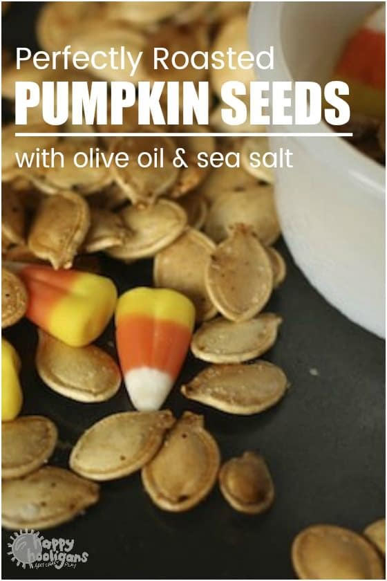 Roasted pumpkin seeds with olive oil, sea salt and candy corn
