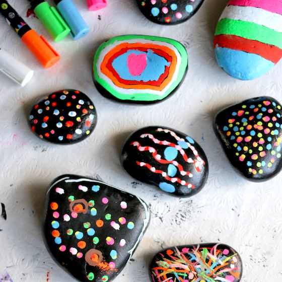painted beach rocks decorated with Kynsa liquid chalk markers
