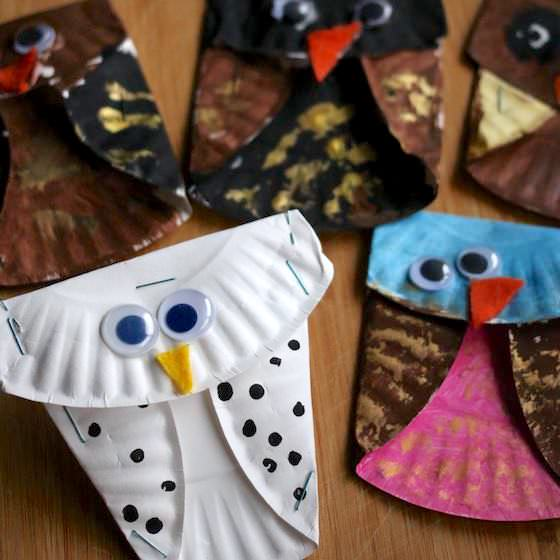 Save & Folded Paper Plate Owls - an Easy Fall Craft for Kids - Happy Hooligans