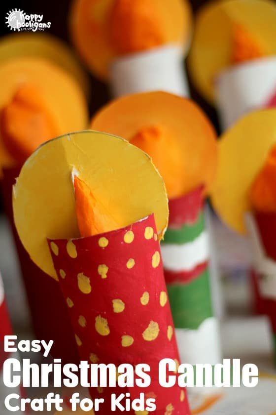 Cardboard Roll Christmas Candle Craft for Kids - feature image
