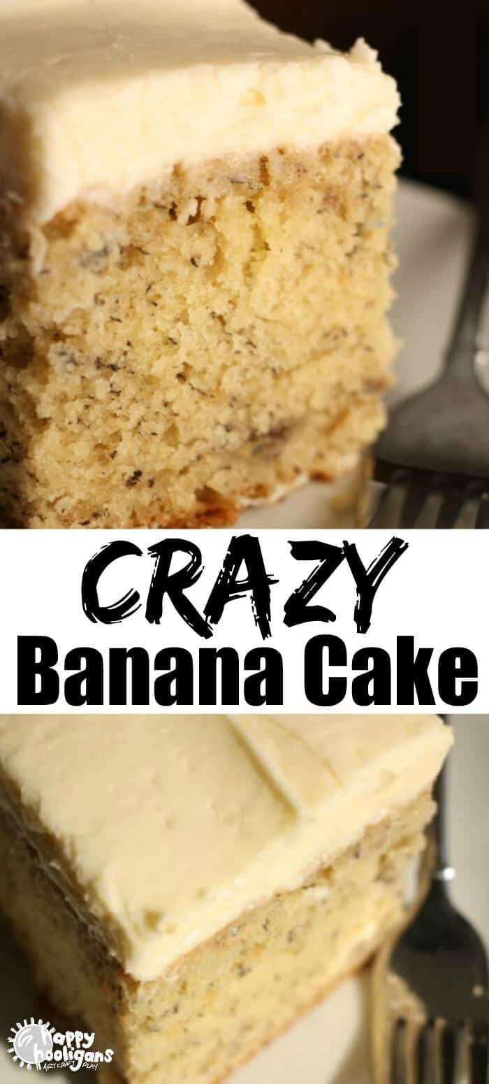 This Crazy Banana Cake is the best banana cake you'll ever taste. Super-moist and delicious every time. The way you bake and cool it is kind of crazy, but that's the secret to its success! #HappyHooligans #BestRecipes #EasyRecipes #BananaRecipes #BestCakeRecipes #BestCakes #BananaCake #CrazyCake #Dessert #Baking #DessertRecipes #CreamCheese