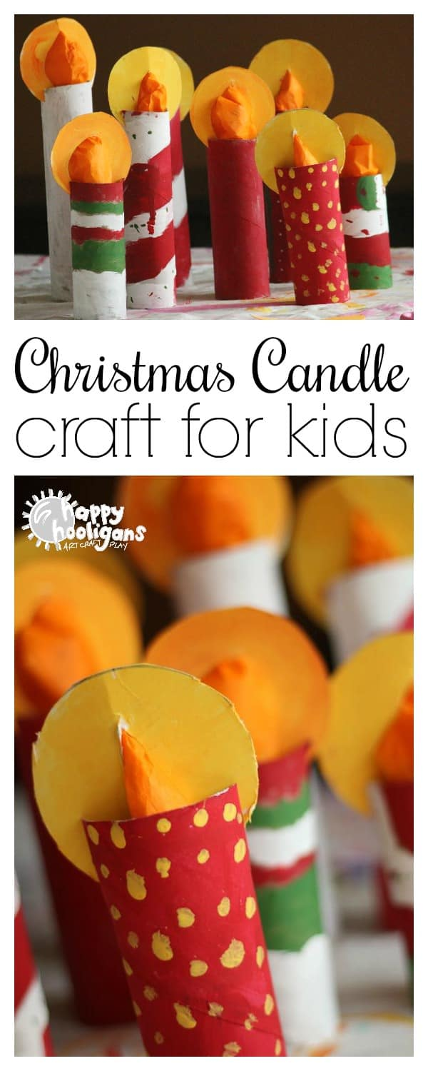 Easy Christmas Candle Craft for Kids. These adorable candles made from paper towel rolls will look sweet displayed on a mantel, windowsill or dinner table this holiday season - Happy Hooligans #christmas #crafts #kids #toiletrolls #holidays #preschoolers