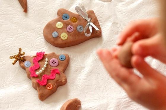 Decorating gingerbread playdough cookies