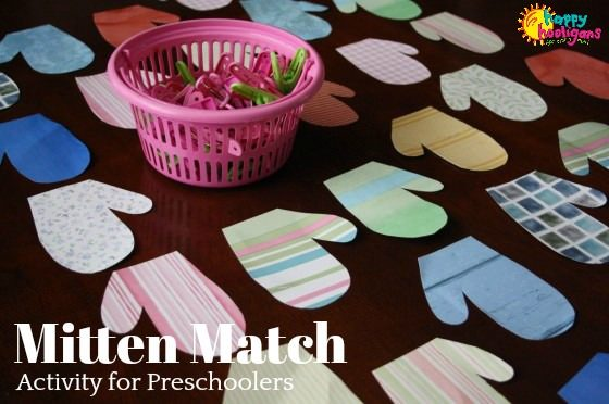 Mitten Matching Activity for Toddlers and Preschoolers