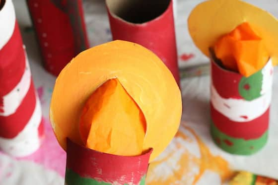 Close up paper towel roll candle craft