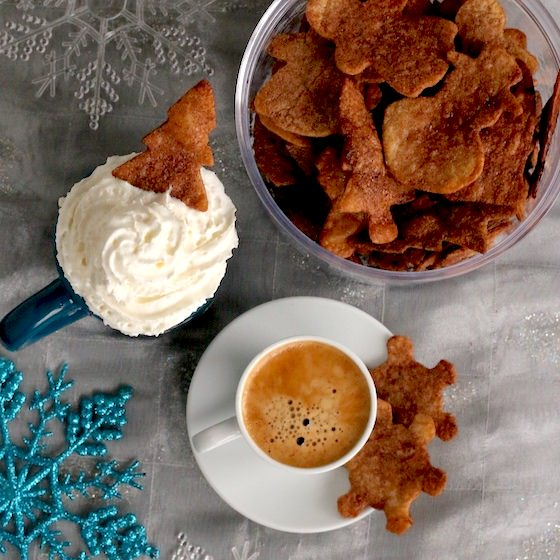 cinnamon-sugar tortillas with hot chocolate and whipped cream
