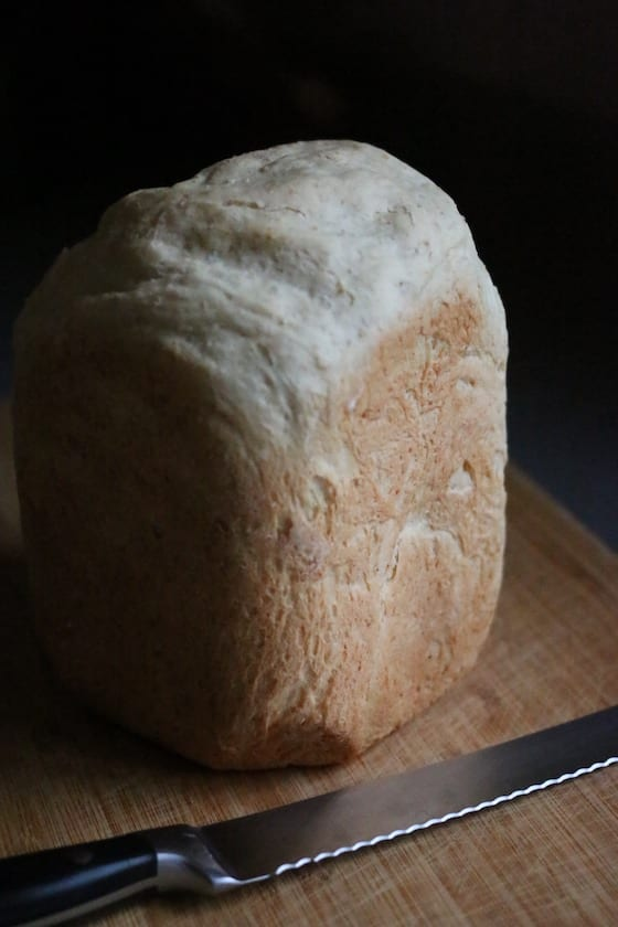Loaf of oatmeal bread made in bread maker