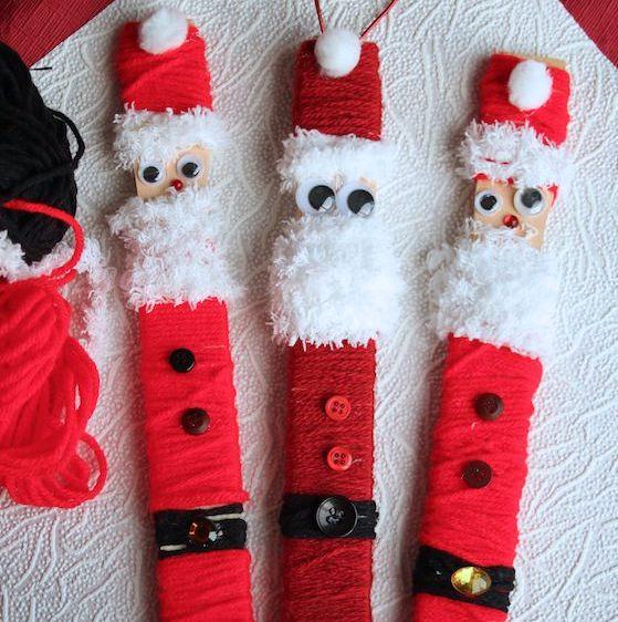 3 paint stick santas