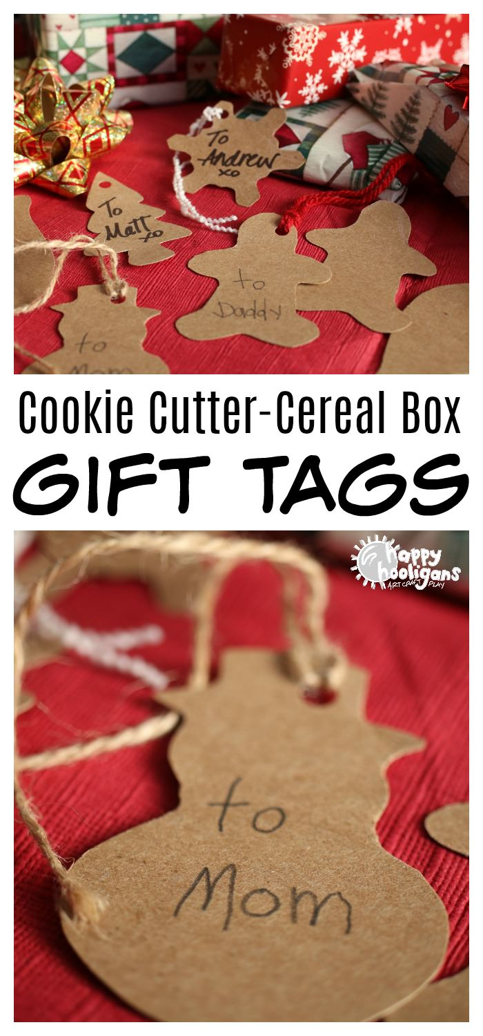 Making Homemade Gift Tags is fun and easy! It doesn't cost a thing, and you'll never have to worry about running out of your store-bought tags again! #Christmas #kids #crafts #cookiecutters #gifts