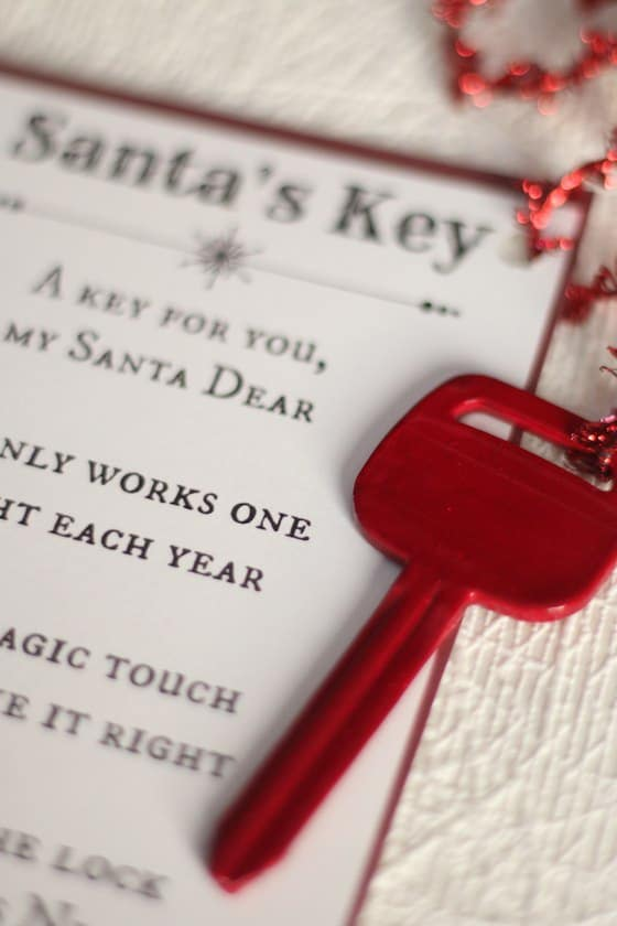 Close up of Magic Key for Santa with Poem