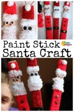 Easy, Adorable Santa Craft for Kids (with Paint Sticks and Yarn)