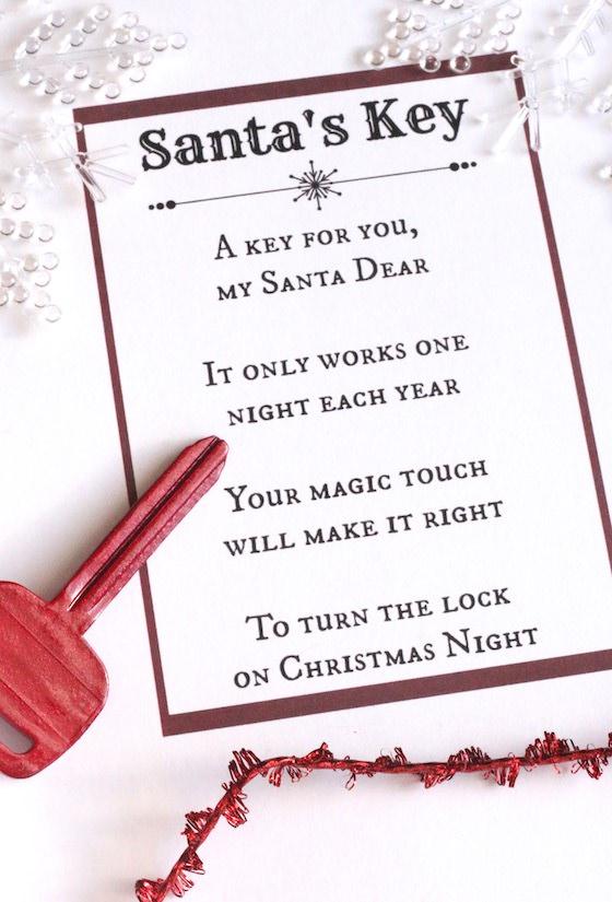 picture regarding Printable Key called Santas Secret - Printable Poem - Delighted Hooligans