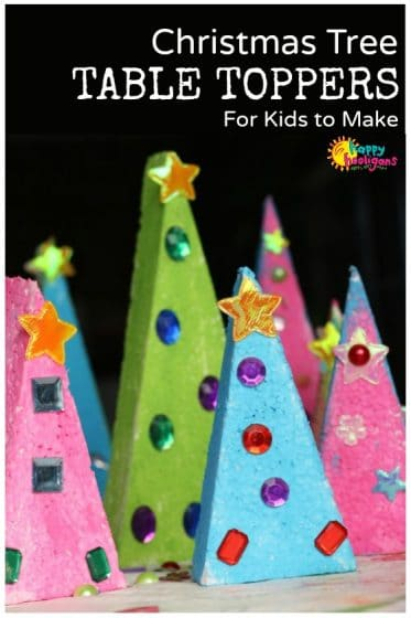 Styrofoam Christmas Tree Table Toppers for Kids to Make - Happy Hooligans