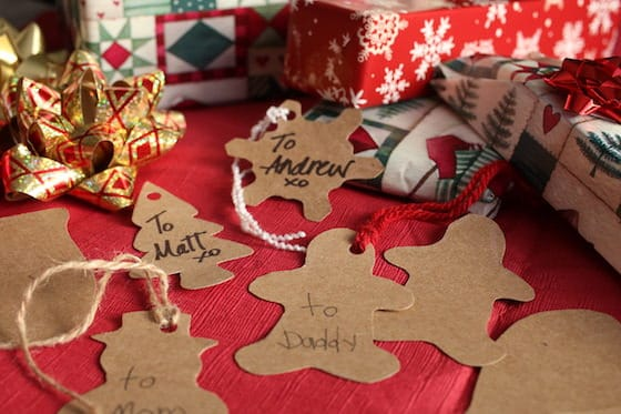 homemade gift tags from cereal box
