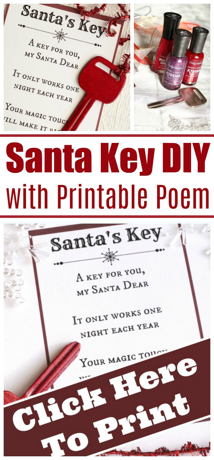 No Chimney? No problem! Santa's Magic Key will let Santa in on Christmas Eve. Get the easy DIY instructions and printable poem here! Perfect for apartments, hotel rooms and homes without a chimney. #HappyHooligans #ChristmasCrafts #ChristmasEve #Santa #MagicKey #DIY