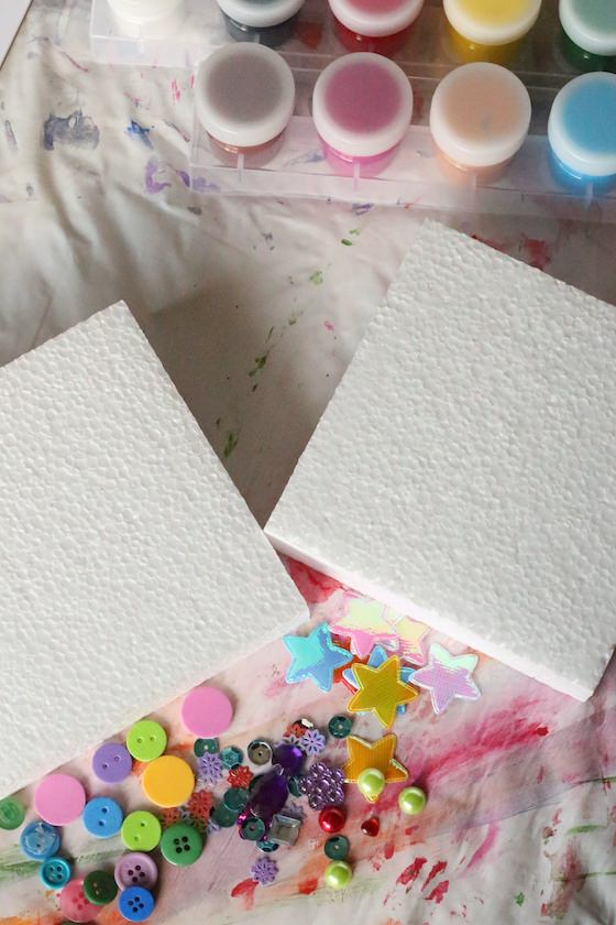 styrofoam paint craft gems