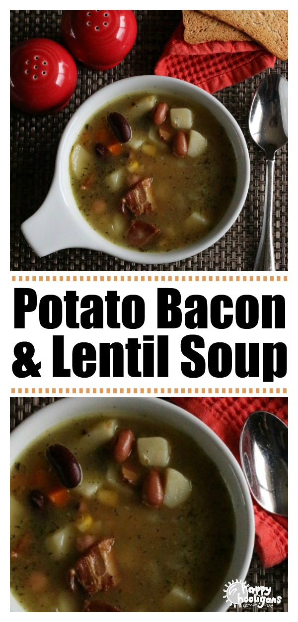 This Lentil Soup with potatoes, bacon and mixed vegetables is so easy to make, and a hearty, delicious meal for fall or winter. #SoupRecipes #WinterRecipes #FallCooking #BestSoups