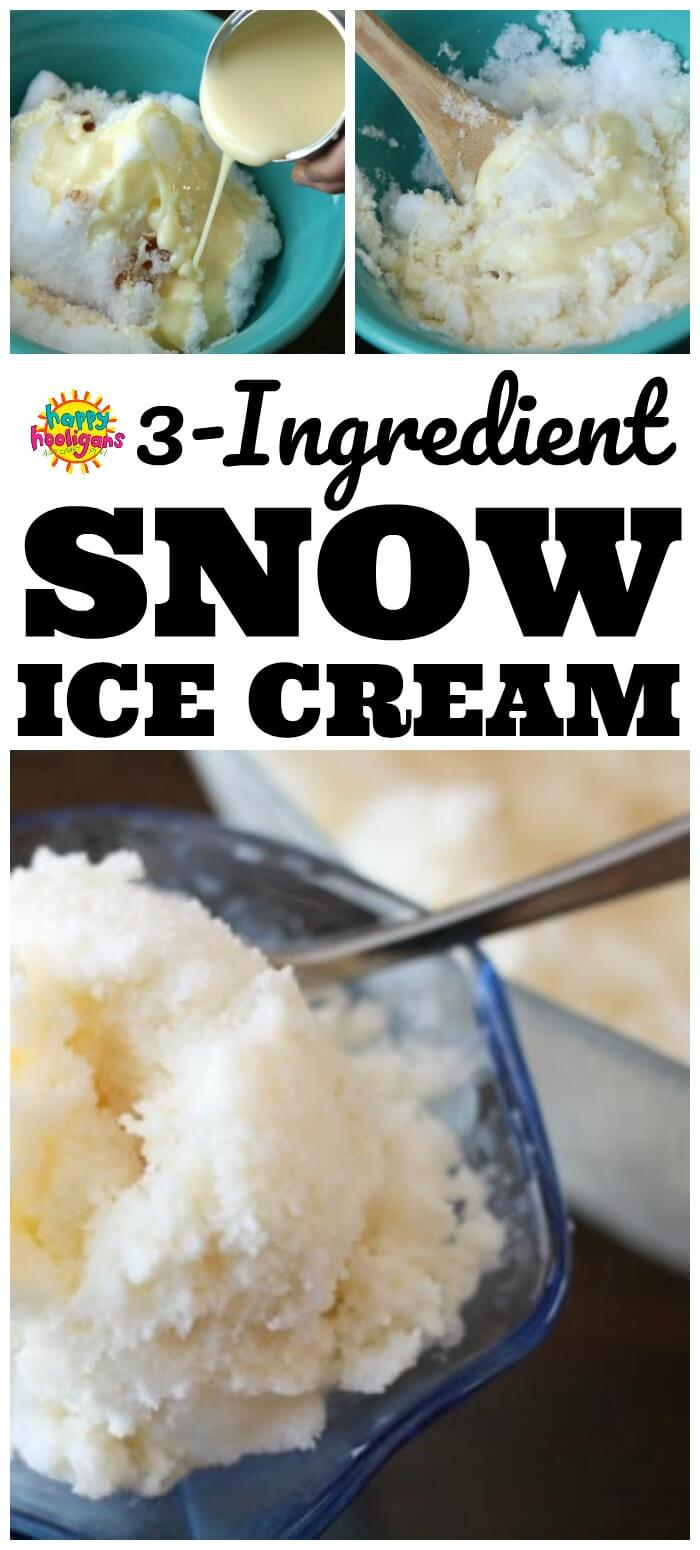Easy Snow Ice Cream Recipe: Making Snow Ice Cream, also known as Snow Cream is a classic childhood activity that every kid should try. It's easy to make with 3 ingredients: fresh snow, vanilla and condensed milk. #HappyHooligans #SnowCream #SnowIceCream #Recipes #WinterActivities #SnowActivities #KidsActivities #WinterFun #DaycareFun #PreschoolFun
