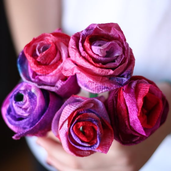 Bouquet of paper towel roses for Valentines Day