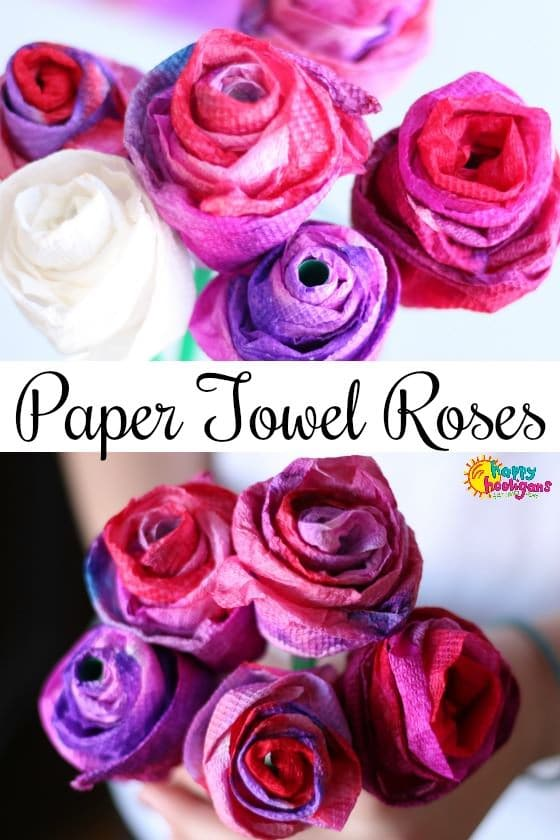 Gorgeous Paper Towel Roses – Valentine's Craft for Kids