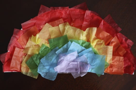 easy tissue paper rainbow craft for kids