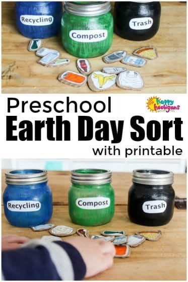 Compost and Recycling Sorting Activity for Earth Day - Happy Hooligans