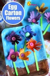 Artisanat de fleurs en carton à œufs pour les enfants d'âge préscolaire