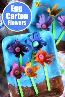 Egg Carton Flower Craft for Preschoolers