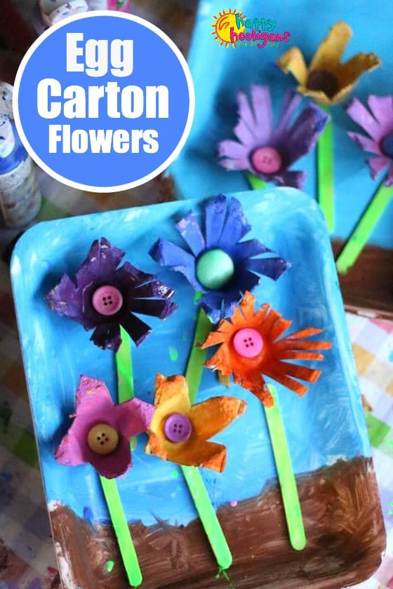Easy crafts for toddlers and preschoolers to tweens Egg carton flowers ideas
