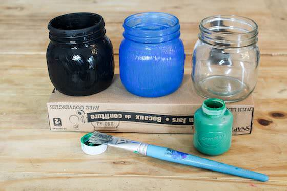 Painting Jars for Earth Day