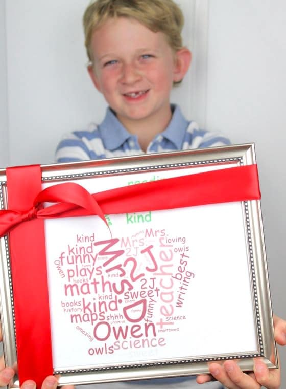 Word Cloud Teacher Gift Wrapped