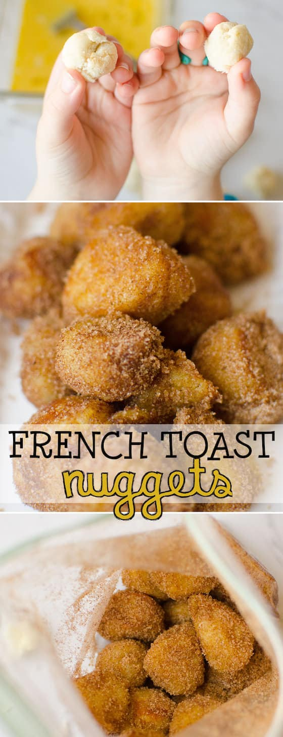 French Toast Nuggets are a fun and easy lunch idea that kids can make themselves. Dipped in egg, fried crispy brown and dusted with sugar and cinnamon, this finger-food version of French Toast is a lunch-time favourite for kids of all ages. #FrenchToast #LunchIdeasForKids #EasyLunchIdea #KidsLunch #EasyRecipe #KidsRecipe #CookingWithKids #LunchTime #BreakFastIdeas #KidsBreakfast #HappyHooligans