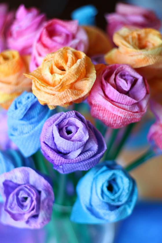 Easy Rose Craft - paper towel rose craft