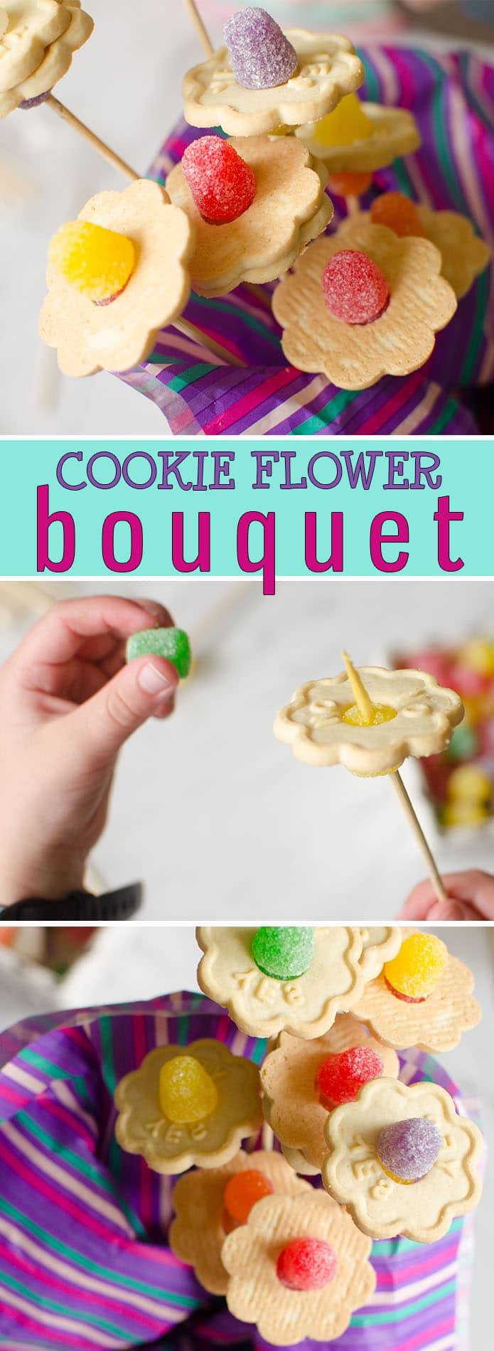 This adorable cookie flower bouquet is a great Mother's Day gift for kids who love to give homemade. What mom or grandma wouldn't love to receive such a thoughtful and delicious gift from a child on their special day. #MothersDayGift #MothersDayActivity #KidMade #Cookies #Flowers #Tasty #Delicious #MothersDayIdeas #KidsCrafts #KidsActivities #FlowerCraft #FunTreats #HappyHooligans