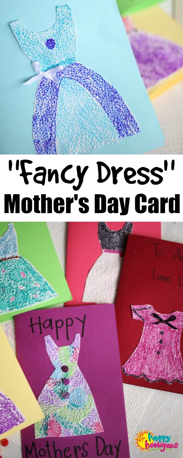 This quick and easy homemade Mother's Day card is perfect for last-minute Mother's Day crafting. Using textured wallpaper samples is fun because the designs really pop when you colour over them. - Happy Hooligans #MothersDay #MothersDayCard #KidsCrafts #KidsArt #ArtForKids #CraftsForKids #HomemadeCards #HomemadeCardsForKids #PreschoolCrafts #DaycareCrafts