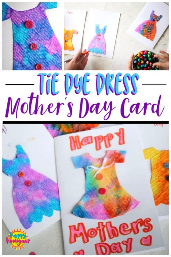 Homemade Mother's Day Card - tie dye dress
