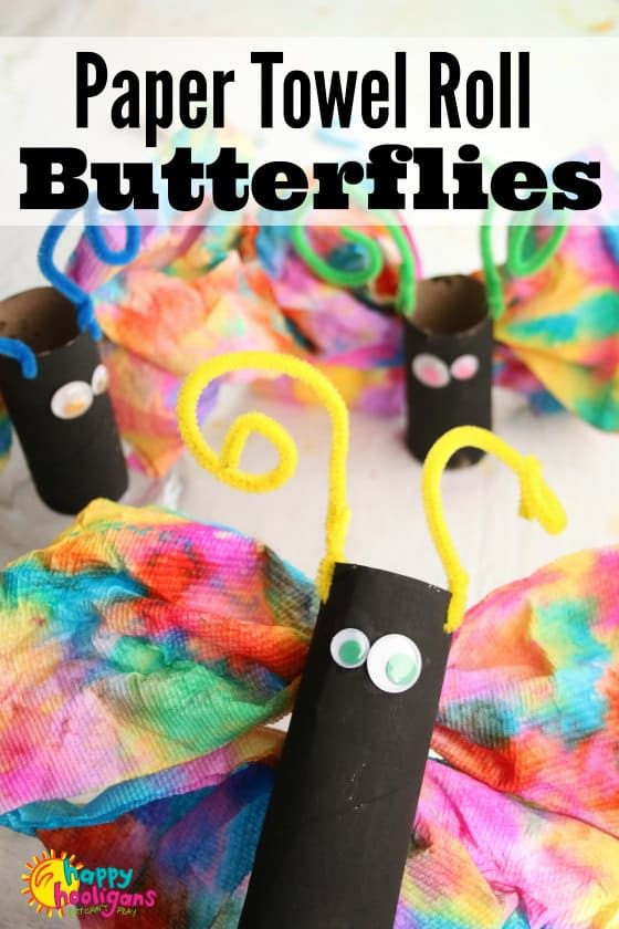 Paper Towel Roll Butterfly Craft for Preschoolers - Happy Hooligans