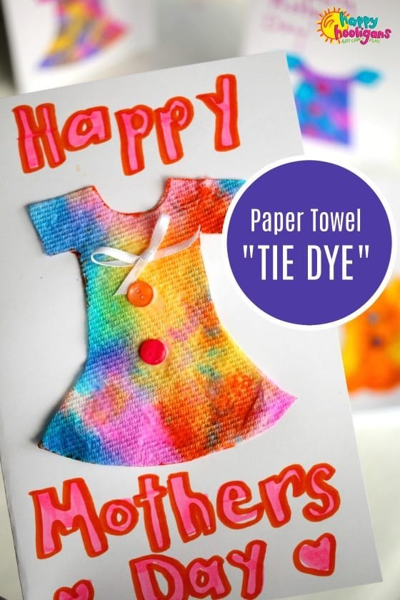 Paper towel tie-dye dress Mother's day card - Happy Hooligans