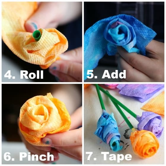 Rolling up roses from strips of paper towel