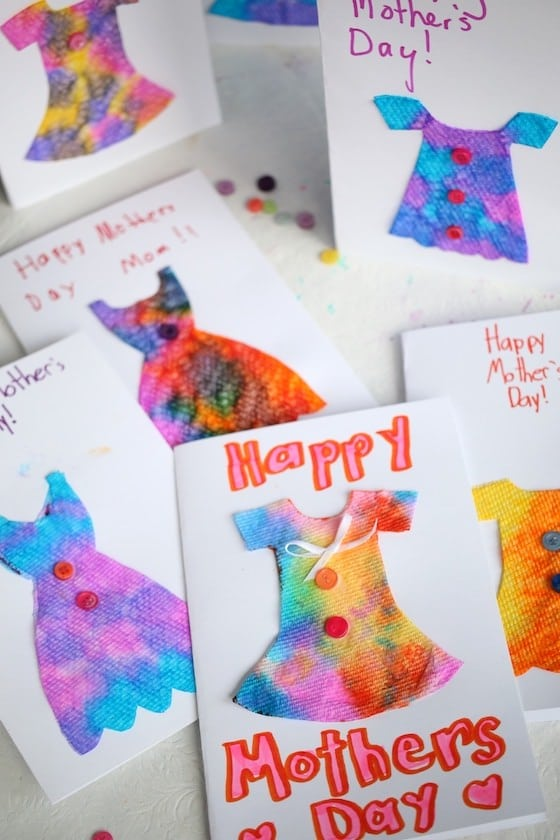 Variety of homemade mother's day cards made by kids