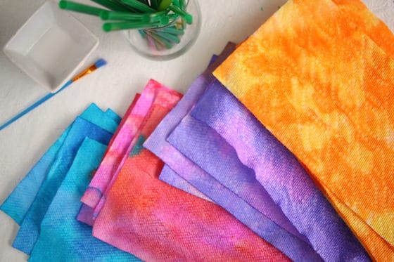 Paper Towels dyed with different colours of liquid watercolours