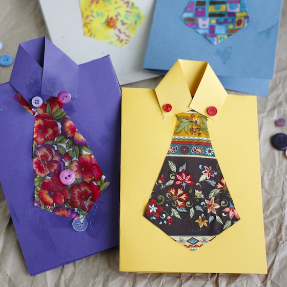 4 shirt and tie cards made by kids